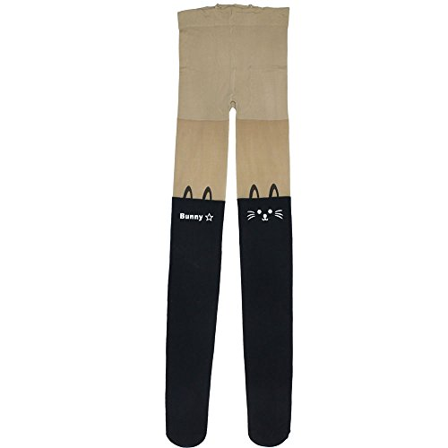 Leegoal (TM) Women Bunny Cat Print Slim Leggings Fashion Tights,Black&Skin Color