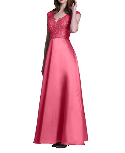 A Linie Satin Damen Wassermelon Abschlussballkleider Charmant Festlichkleider Langes Brautmutterkleider Abendkleider Partykleider Spitze x1wZBSw0