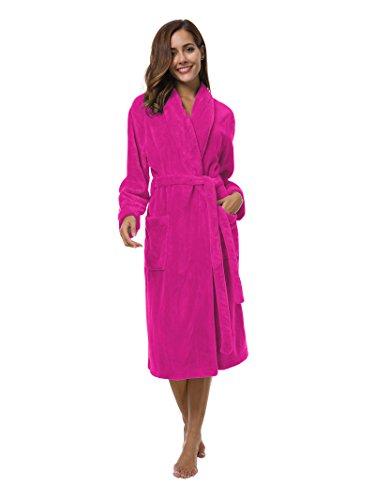 (SIORO Womens Fleece Robes, Soft Warm Plush Bathrobe for Spa Shower Lounging, Shawl Collar Sleepwear for House Hotel Fuchsia M)
