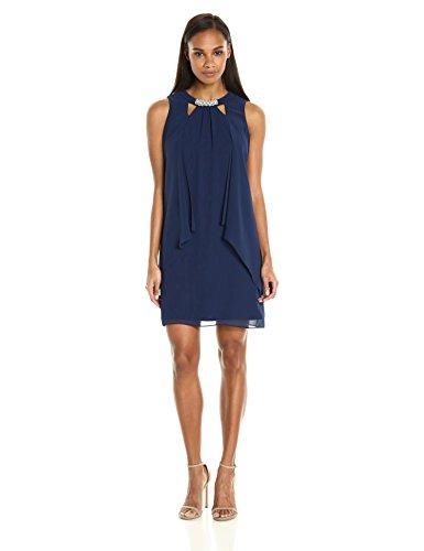 S.L. Fashions Women's Sleeveless Cutout Pearl Neck Dress, Navy, 10 - L/s Dress Womens Dress