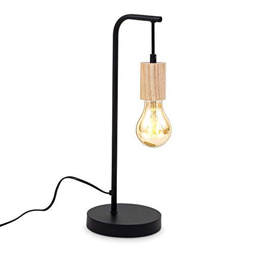 B.K.Licht I Tafellamp I retro lamp voor binnen I zwart en hout I industrieel I metaalen bedlamp I netstroom I aan/uit…