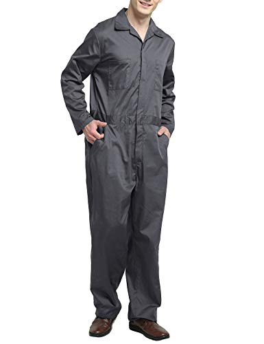TOPTIE Men's Regular Long Sleeve Snap Zip-Front Coverall-Gray-2XL