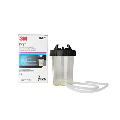 3M PPS H/O Pressure Cup with Air Hose, 16121, Mini, 6 Ounces, Use with 3M Accuspray HGP Spray Gun for Thick High-Viscosity Paints, Stains, Varnishes, Coatings and Primers, 1 Pack