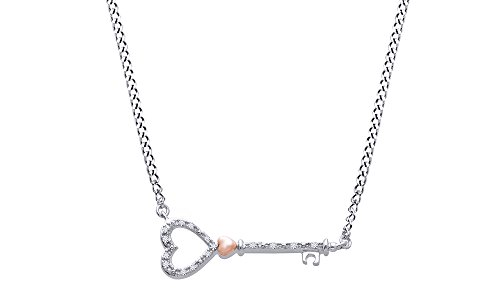 Jewel Zone US Natural Diamond Key Heart Necklace in 14k White Gold Over Sterling - Necklace Diamond Heart Key