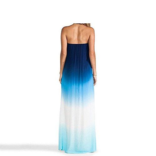 QER- Vestido Vestido de la gasa / falda envuelta de la playa del pecho / color del gradiente / Vestido de la gasa / falda de la playa, M M