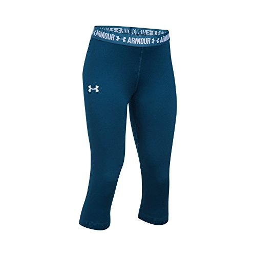 Under Armour Girls' HeatGear Armour Solid Capri, Blackout Navy/Blackout Navy, Youth Small