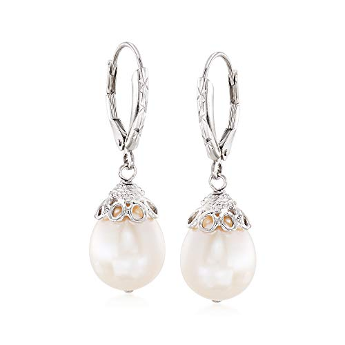 - Ross-Simons 10-11mm Cultured Pearl Drop Earrings in Sterling Silver