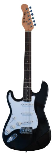 "Full Size 39 Inch Black [Lefty] Left Handed Electric Guitar [Strat Style] S-Style with ""Learn to Play Guitar DVD"", and Free Carrying Bag and Strap, Cable, Whammy Bar, Strings & DirectlyCheap(TM) Blue Medium Guitar Pick"