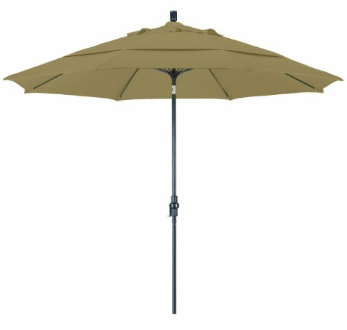 California Umbrella 11' Round Aluminum Pole Fiberglass Rib Market Umbrella, Crank Lift, (Deluxe Auto Tilt Umbrella)