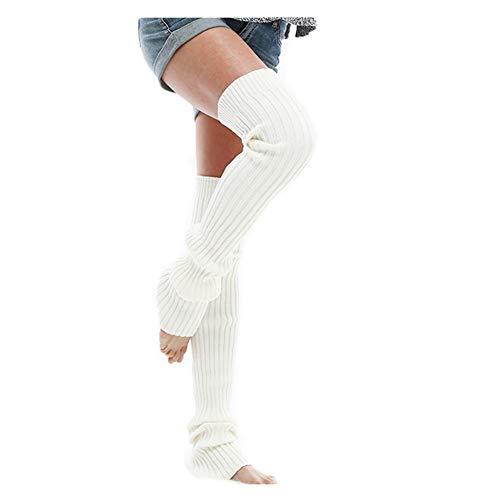 (Leg Warmer, Women Thigh High Tie Cable Knit Crochet Long Boot Socks (L, White) )