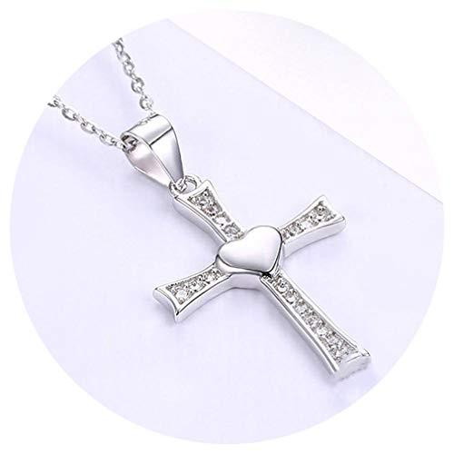 Antique Silver Jesus Cross Necklace 100% 925 Sterling Silver Cross Pendant Necklace For Women Men S925 Jewelry Gift TSN0198 40cm