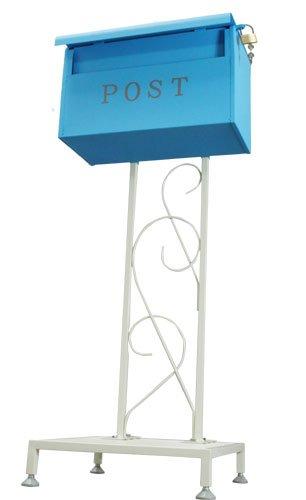 サンニード ポスト 郵便受け ポストスタンド 置きポスト PSON-1 幅45 高さ122 鍵付き S1 B010D8H95M 14980 ホワイト/ブルー ホワイト/ブルー