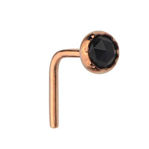Sampson Nose Ring - Nose Stud - 14K Rose Gold Filled 20 Gauge Set With a 3mm Black Onyx