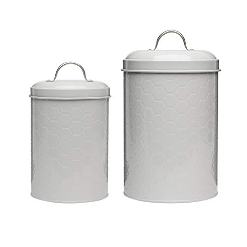 Amici Home Hampton Gray Metal Canisters, Nesting
