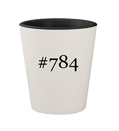 #784 - Ceramic Hashtag White Outer & Black Inner 1.5oz Shot -