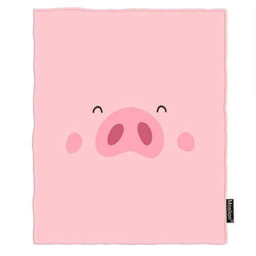 - Moslion Pig Blanket Cute Pink Piggy Nose Smile Eyes and Pink Blush Polka Dot Throw Blanket Flannel Home Decorative Soft Cozy Blankets 40x50 Inch for Baby Kids Pet
