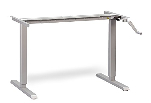 MultiTable Hand Crank Height Adjustable Standing Desk Base - Frame Only - Silver (Table Top Not Included)