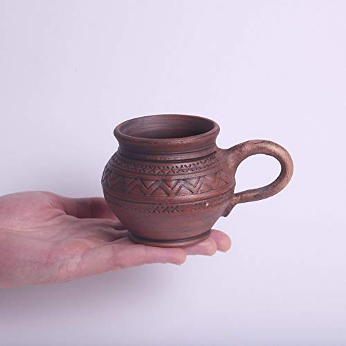 Handmade Stoneware Pottery Espresso Mug 6.7 oz - Unique Tea Cup from Clay and Milk - Brown Ceramic Coffee Mug Earthenware - Handcrafted Pottery Gifts for Men