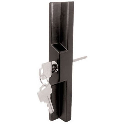 Sliding Door Outside Pull (Slide-Co 141860 Sliding Door Outside Pull with Key, Black/Diecast, Fits 7 Different Hole Center Spacings)