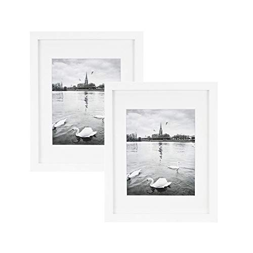 8x10 Photo Art (Golden State Art, Set of 2 White Photo Wood Frame 11x14 with Real Glass Mat for 8x10 Picture)