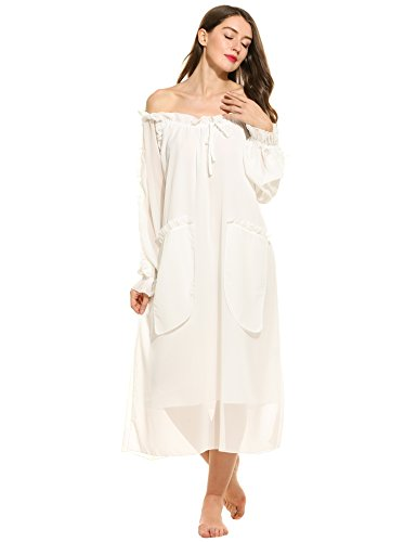 Ekouaer Women's Sheer Chiffon Victorian Vintage Off the Shoulder Ruffled Long Nightgown (White, (White Sheer Nightshirt)