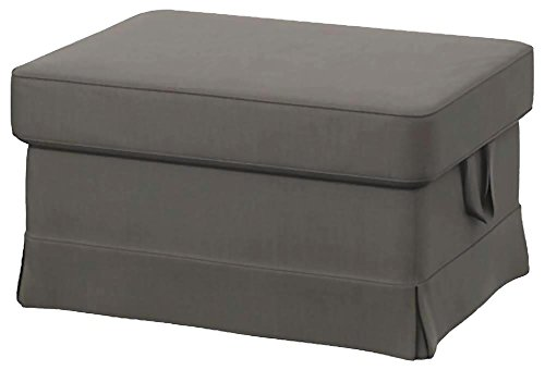 Easy Fit The Heavy Cotton Ektorp Ottoman Cover Replacement is Custom Made for IKEA Ektorp Footstool Or Stool Slipcover (Dense Cotton Dark Gray) (Ikea Ottoman Covers)