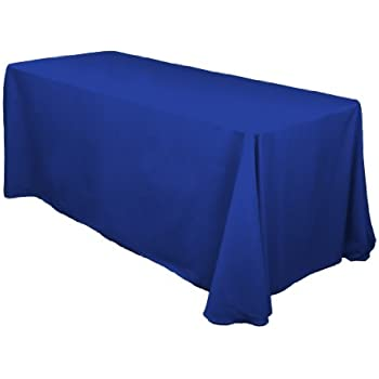 LinenTablecloth 90 X 156 Inch Rectangular Polyester Tablecloth Royal Blue