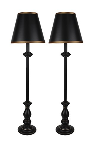 Urbanest Set of 2 Banchetto Buffet Lamps in Distressed Black with Gold Trim (Banchetto)