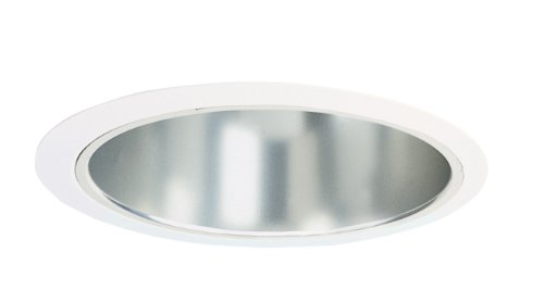 Juno Lighting Group 247C-WH 6-Inch Shallow Clear Alzak Cone with White Trim,
