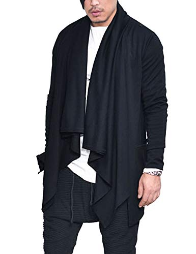 COOFANDY Mens Ruffle Shawl Collar Cardigan Sweaters Long Sleeve Open Front Longline Drape Coat,Black,XX-Large