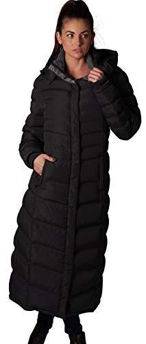 ELORA Women's Maxi Fleece Trim Hooded Full Length Puffer Coat, Black, Small (Full Length Down Coats For Women)