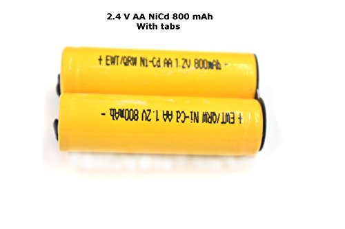 Shaver Battery Pack - 2.4V AA 800 mAh NiCd with Solder Tabs - fits most Norelco and Remington ()