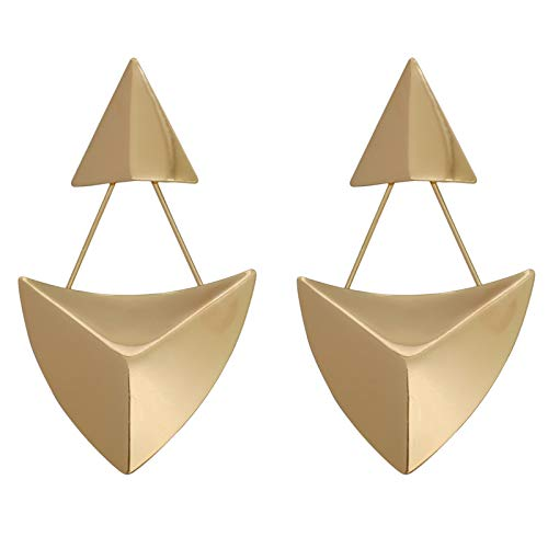 - Large Geometric Metal Double Triangle Dangle Drop Simple Earrings for Women (Double Triangles(Gold))