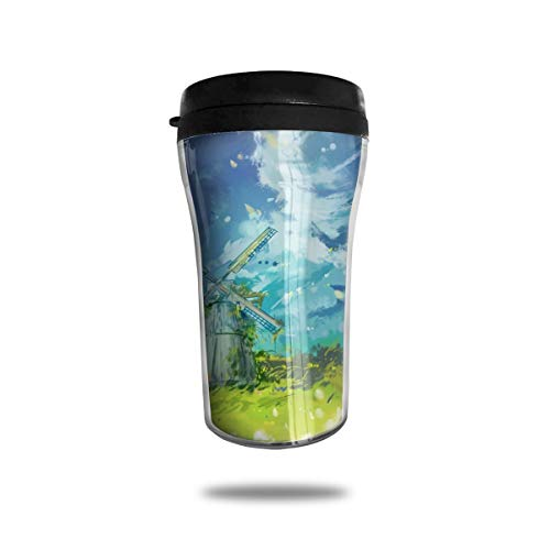 (Barton Insulated Mug for Coffee Or Tea Watercolor Windmill High Temperature Resistant and Eco-Friendly Material Travel Cup)