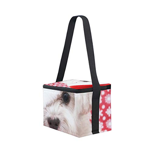 Cooler Christmas Shoulder Lunchbox White Hat Lunch Dog Picnic for Strap Maltese in Bag aXwxvq0f