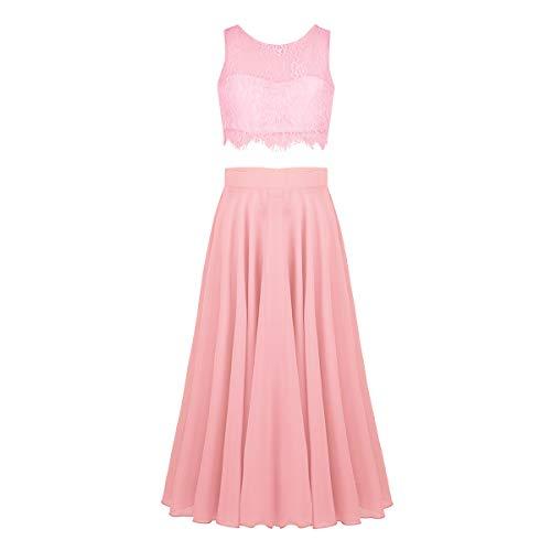 YiZYiF 2-Piece Kids Big Girls Lace Floral Wedding Prom Dance Formal Party Maxi Gown Chiffon Dress Pearl Pink 8