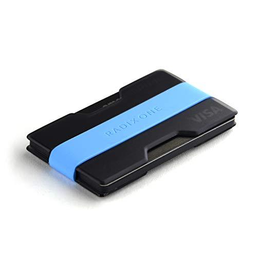 Radix One Slim Wallet (Smoke/Cyan) - Minimalist Front Pocket Ultralight Thin Polycarbonate Wallet Money Clip