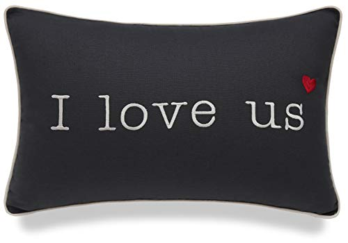 """YugTex I Love Us Embroidered Grey Cotton Decorative Oblong Lumbar Throw Pillowcase For Valentine Couple Wedding Anniversary Sofa Porch Bedroom (12""""x18"""", Grey(I Love us))"""