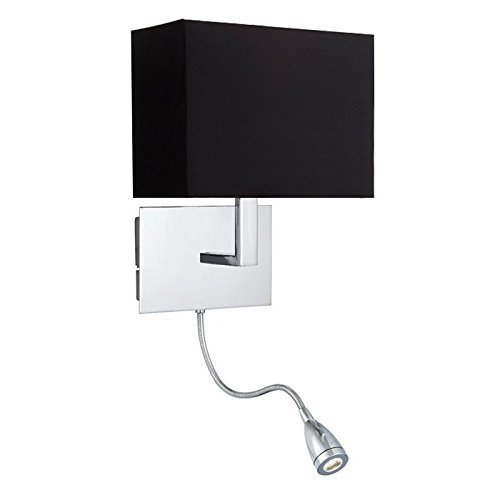 Onepre Polished Chrome Bedside Wall Light Bedroom Wall Lamp With Black Fabric Shade And Adjustable Arm Led Reading Light 2 Switches Buy Online In Dominica At Dominica Desertcart Com Productid 50635710