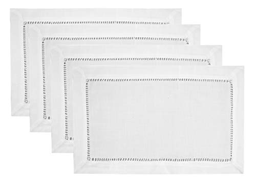 Fennco Styles Stylish Solid Color with Hemstitched Border Table Placemat - Set of 4 (White, 13