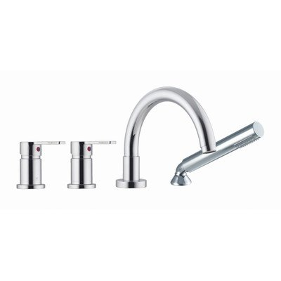 Thermostatic Deck Mount Faucet - Matrix Double Handle Deck Mount Thermostatic Tub Faucet with Hand Shower Finish: Brushed Nickel