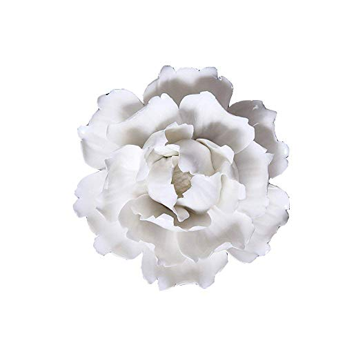 ALYCASO Ceramic Flower Pediments Sculpture Wall Decoration for Living Room Bedroom Hanging 3D Wall Art, A - White, 5.9 inch