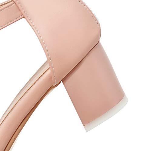Medio Luccichio Tacco Flats Puro AgooLar Rosa GMMDB006559 Cerniera Donna Ballet xqUASnwEp