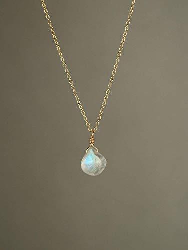 Rainbow Moonstone necklace 14k gold vermeil chain Long charm, Silver,rose gold, Gemstone Pendant Moonstone, Heart shaped moonstone, marquise shape drop pendant moonstone - Genuine Emrald sapphire