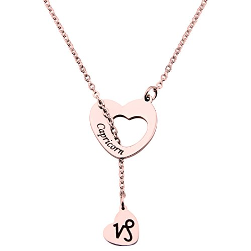 Zodiac Capricorn Sign - ENSIANTH Rose Gold Zodiac Signs Heart Necklace Stainless Steel Lariat Y Necklace Best Birthday Gift (Capricorn)