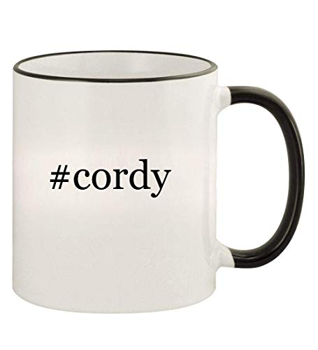 #cordy - 11oz Hashtag Colored Rim and Handle Coffee Mug, Black (Cordy Bunny)