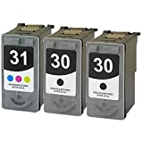 Remanufactured Canon PG-30 and CL-31 Ink Cartridges 3-Pack 2Bk 1C for use with Canon PIXMA iP1800 iP2600 MP140 MP190 MP210 MP220 MP470 MX300 MX310