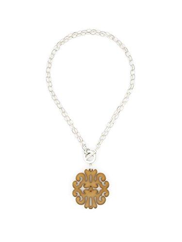 ZENZII Statement Scroll Pendant Necklace (Silver Tan)