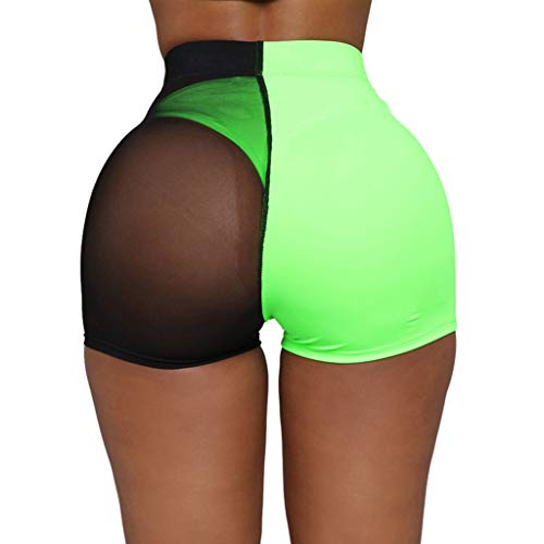 WFeieig Womens Beach Hot Shorts Summer Sexy Pants High Waist Board Short Workout Waistband Yoga Running Sports Shorts Green ()