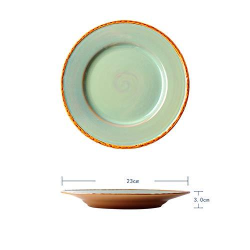 FGSLW Salad Plate, Nordic Retro Round Ceramic Tableware, Home Western Tableware, Hotel Dessert Plate, Fruit Plate (Color : 23cm, Size : Set of 6)